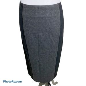 CAbi black knit pencil skirt with charcoal panel 2